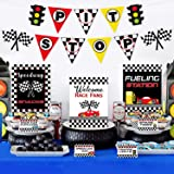 Race Car Bar Decorations Kit Racing Bar Signs Snack Tent Cards Pit Stop Banner for Race Car Birthday Party Decorations Let's