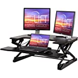 "Seville Classics airLIFT 35"" Height Adjustable Stand Up Laptop Desk Converter/Riser - Keyboard Tray, Quick Lift Ergonomic Tab"
