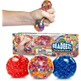 Beadeez Stress Relief Squeezing Balls 3-Pack for Kids and Adults - Premium Anti-Stress Squishy Balls with Water Beads - Allev