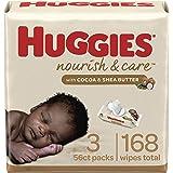 Baby Wipes, Scented, Huggies Nourish & Care Baby Diaper Wipes, 3 Flip-Top Packs (168 Wipes Total)