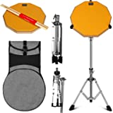 Topnaca ドラム練習パッド ドラム消音パッドセット12インチ トレーニング用パッドドラム スタンド付属 ラバー製 静音 高反発 収納バックパック ドラムスティック付き