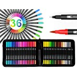 Dual Tip Brush Pens Art Markers 36 Color Set with Canvas Organizer Case Flexible Brush and 0.4mm Fineliner - Coloring Journal
