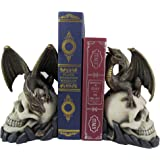 World of Wonders Dragon Tales Dragon Sitting on a Skull Decorative Bookends   Bookshelf Decorations for Your Home Office   Go