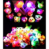 24 Pack LED Light Up Bumpy Rings Party Favors For Kids Prizes Box Toys For Birthday Classroom Rewards Treasure Box Prizes Toy