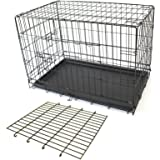 PETJOINT Pet Dog Crate + Divider | Metal Folding Cage Portable Kennel House Training Puppy Kitten Cat Rabbit with Removable T