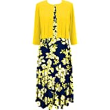 Danny and Nicole Womens Two Piece 3/4 Sleeve Short Jacket and Midi Dress 3/4 Sleeve Dress - Multi