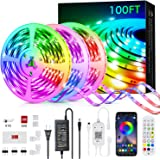 100ft Led Strip Lights, Livingpai Color Changing LED Light Strips with Music Sync, Remote, Built-in Mic, Bluetooth App Contro