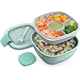 Bentgo Salad - Stackable Lunch Container with Large 54-oz Salad Bowl, 4-Compartment Bento-Style Tray for Toppings, 3-oz Sauce