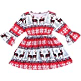 Xmas gift Toddler Baby Girls Valentine's Day Dress Kid Baby Girls Ruffle Long Sleeve Tops Baby Girl Skirt Outfit Set