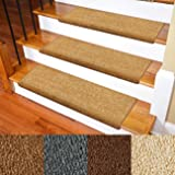 Carpet Stair Treads - Non-Slip Bullnose Carpet for Stairs - Indoor Stair Pads - Self-Adhesive & Easy Installation - Pet & Chi