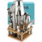 Australian brand ARSSOO Boston Cocktail Shaker Set. 16PC Bartender Kit with Stand. Boston Shaker, Double Jigger, Muddler, Cit