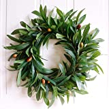 Wreath - Nearly Real, Olive Leaf: 17-Inches Rustic Farmhouse, Greenery Wreaths, Faux Foliage Wreath, for Front Door, Welcome,