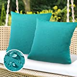 ELE ELEOPTION Set of 2 Outdoor Waterproof Throw Pillow Covers 18x18 Inch for Patio Tent Couch Garden Balcony Farmhouse Cushio