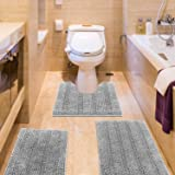 IM Home Striped Light Grey Bathroom Rug Set 3 Pieces Gray Extra Soft, Non Slip Chenille Bath Rugs Machine Washable, Absorbent
