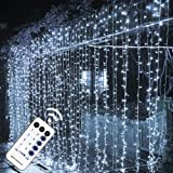 MAGGIFT 304 LED Curtain String Lights, 9.8 x 9.8 ft, 8 Modes Plug in Fairy String Light with Remote Control, Christmas, Backd