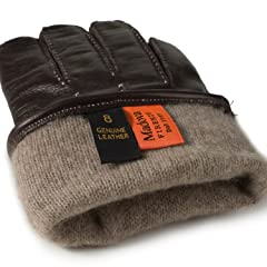 Goat Nappa Strapped Gloves: Brown