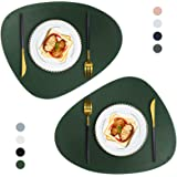 JTX Placemats Round Leather for Dinner Table Mats Heat-Resistant Non-Slip Washable Insulation Coffee Mats Kitchen Place Mats