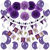 Zerodeco Birthday Decoration Set, Happy Birthday Banner Bunting with 4 Paper Fans Tissue 6 Paper Pom Poms Flower 10 Hanging S