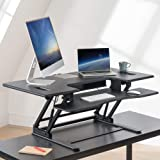 Zinus Betsy Height Adjustable Sit Stand Desk Riser Standing Double Desk 121 cm