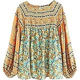 R.Vivimos Women Autumn Long Sleeve Cotton Floral Print Casual Loose Tops Boho Blouses Shirts