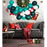 """Eanjia Christmas Balloons Garland Kit DIY Balloon Arch Double Stffed Forest Green 5-18"""" Latex Balloons 8ft Stipe Tape Glue Do"""