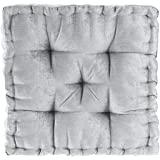 """Intelligent Design Poly Chenille Square Floor Pillow Cushion, ID31-1526, Chenille, Grey, 20""""x20""""x5"""""""