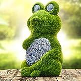 Solar Garden Statue of Frog with Solar Light Eyes - Outdoor Lawn Decor Garden Frog Figurine for Patio, Balcony, Yard, Lawn Or