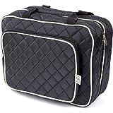 Ellis James Designs Large Travel Toiletry Bag for Women with Hanging Hook, Black, Big Wash Bags - Hair Dryer Case - Multi-use