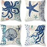 Pack of 4 Decorative Throw Pillow Covers 18x18 Inch Ocean Theme Holiday Octopus Starfish Shell Squid Travel Cool Square Pillo
