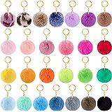 BQTQ 26 Pieces Keychain Pompoms Rabbit Faux Fur Pompom Fluffy Balls Fluffy Pom Balls Keyirings Pompoms