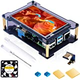Miuzei Raspberry Pi 4 Touch Screen with Case &Fan, 4 inch IPS Full-Angle Game Display, 800x480 Pixel, Support HDMI Input with