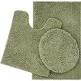 ITSOFT 3pc Non-Slip Shaggy Chenille Bathroom Mat Set, Chenille, Sage Green, Medium