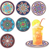 MissRui Set of 6 Mandala Coasters Silicone Anti-Slip Coasters for Drinks Anti-Scalding Heat Insulation