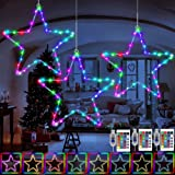 KNONEW Window Lights 3 Pack, 16 Colors Changing Christmas LED Star Lights, USB Powered Christmas Decorations with 3 Remote Co