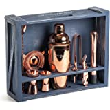 Mixology Bartender Kit: 11-Piece Copper Bar Set Cocktail Shaker Set with Rustic Wood Stand | Perfect Home Bartending Kit with