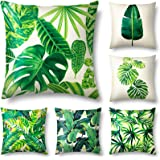 Set of 6 Tropical Leaves Throw Pillow Cover Decorative Cotton Linen Burlap Square Outdoor Cushion Cover Pillow Case 18 X 18 I