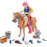 Blue Ribbon Champions Deluxe Palomino Horse with Rider Doll Play Set - 14 Realistic Grooming Accessories