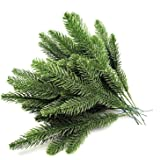 30pcs 10.24x3.94 Inches Artificial Pine Branches Green Leaves Needle Garland Green Plants Pine Needles for Garland Wreath Chr