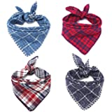 Segarty Dog Bandanas, 4PCS Triangle Bibs Reversible Plaid Printing Dog Kerchief Set, Scarfs Accessories for Small to Large Do