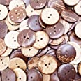 Kbraveo 150pc 1 inch New Thick Coconut Shell 2 Holes Button Natural Coconut Shell Buttons for Crafts Sewing Decorations