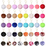 Auihiay 40 Pieces Pom Poms Keychains Fluffy Balls Pompoms Key Chain Faux Rabbit Fur Pompoms Keyring for Girls Women Hats Bags