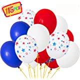 Moon Boat Patriotic Decorations Star Latex Balloons - Red Blue White - Fourth of July Party Supplies(115Ct)