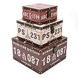 Jolitac Wood Storage Box Set of 3, Vintage Decorative Nesting Boxes Wooden Treasure Storage Crates With Latch Rustic Antique
