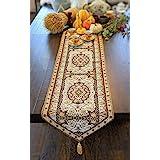 DaDa Bedding Elegant Tapestry Table Runner - Intricate Royal Persian Rug Golden Opulence - Decorative Floral Damask Cotton Li