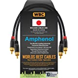 0.5 Foot - High-Definition Audio Interconnect Cable Pair Custom Made by WORLDS BEST CABLES - Using Mogami 2964 Wire and Amphe