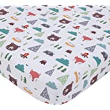 NoJo Retro Happy Camper Green, Aqua, Orange & White Fitted Nursery Crib Sheet, Green, Aqua, Orange, Grey