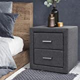 Artiss Fabric Bedside Table with 2 Drawers, 50cm Height Side Table, Grey