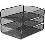 Safco Products 3271BL Onyx Mesh Desktop Organizer with Triple Tray, Black