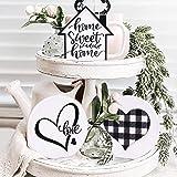 Huray Rayho Home Sweet Home Tiered Tray Decor Buffalo Plaid Heart Mini 3D Wood Signs Farmhouse Rae Dunn Inspired Love Round S