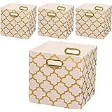 (4, White lantern print) - Posprica Collapsible Canvas Storage Bin Organiser Basket with Metal Handles for Toy Organiser,Pet